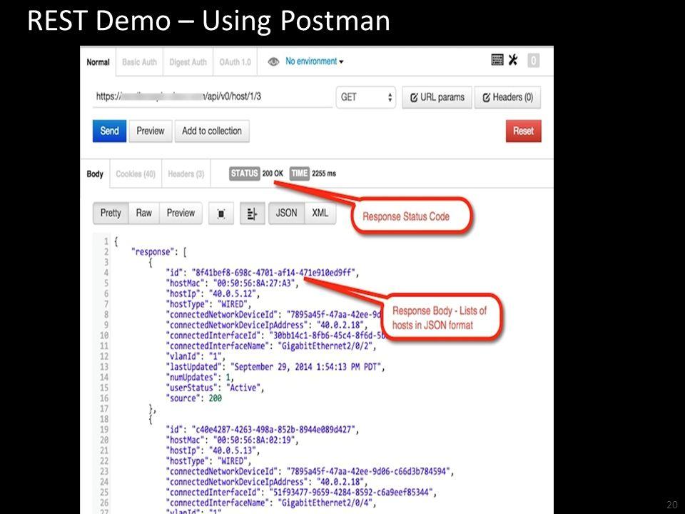 REST Demo – Using Postman 20