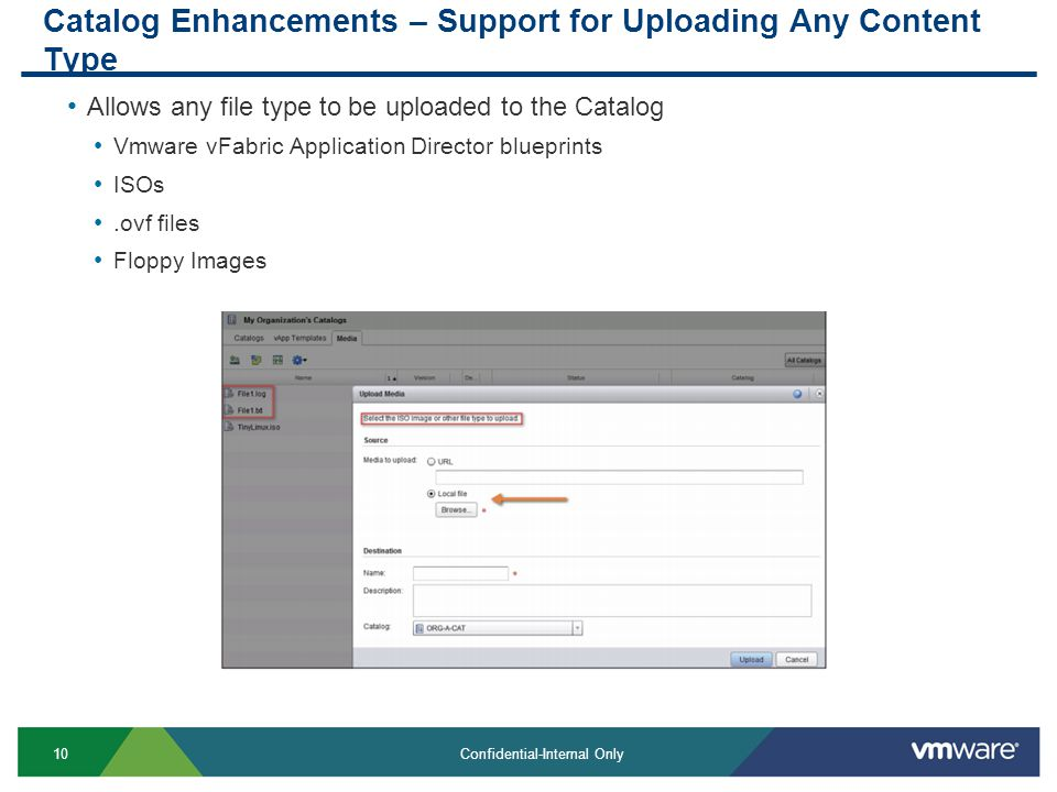 10 Confidential-Internal Only Catalog Enhancements – Support for Uploading Any Content Type Allows any file type to be uploaded to the Catalog Vmware vFabric Application Director blueprints ISOs.ovf files Floppy Images