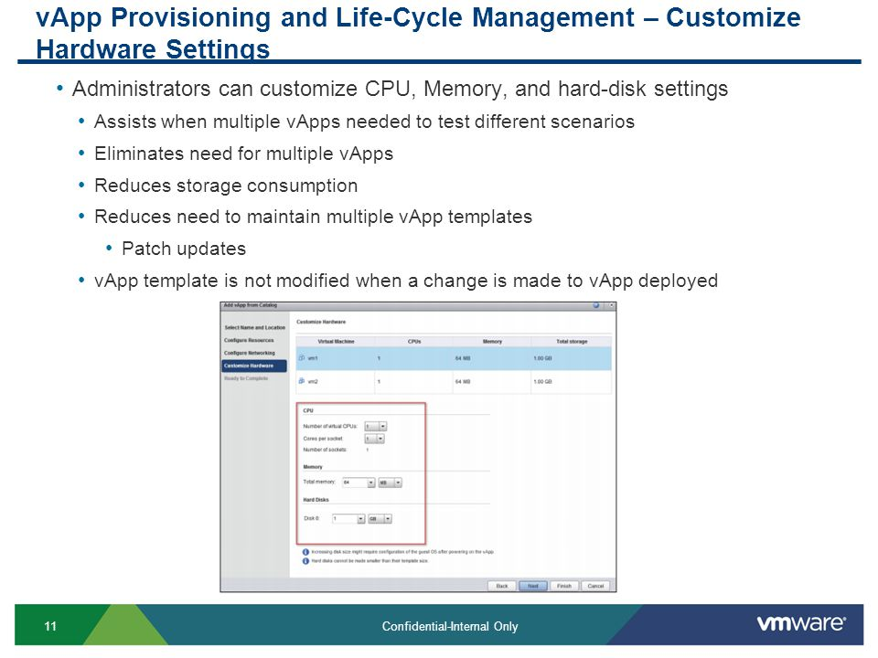 11 Confidential-Internal Only vApp Provisioning and Life-Cycle Management – Customize Hardware Settings Administrators can customize CPU, Memory, and