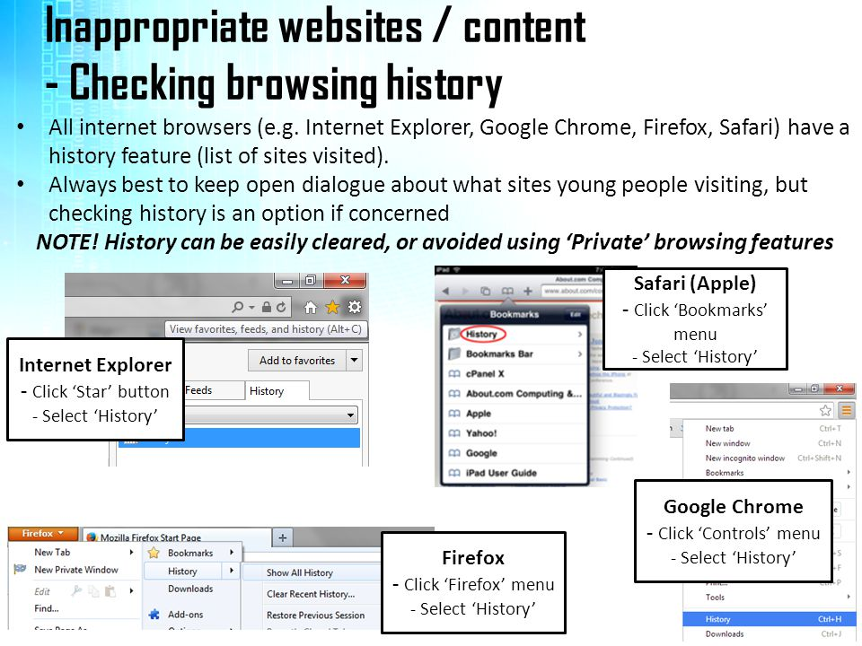 Inappropriate websites / content - Checking browsing history All internet browsers (e.g.