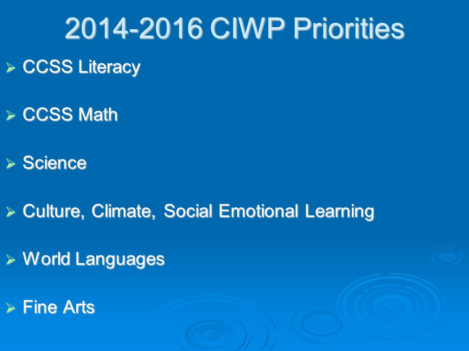 2014-2016 CIWP Priorities  CCSS Literacy  CCSS Math  Science  Culture, Climate, Social Emotional Learning  World Languages  Fine Arts