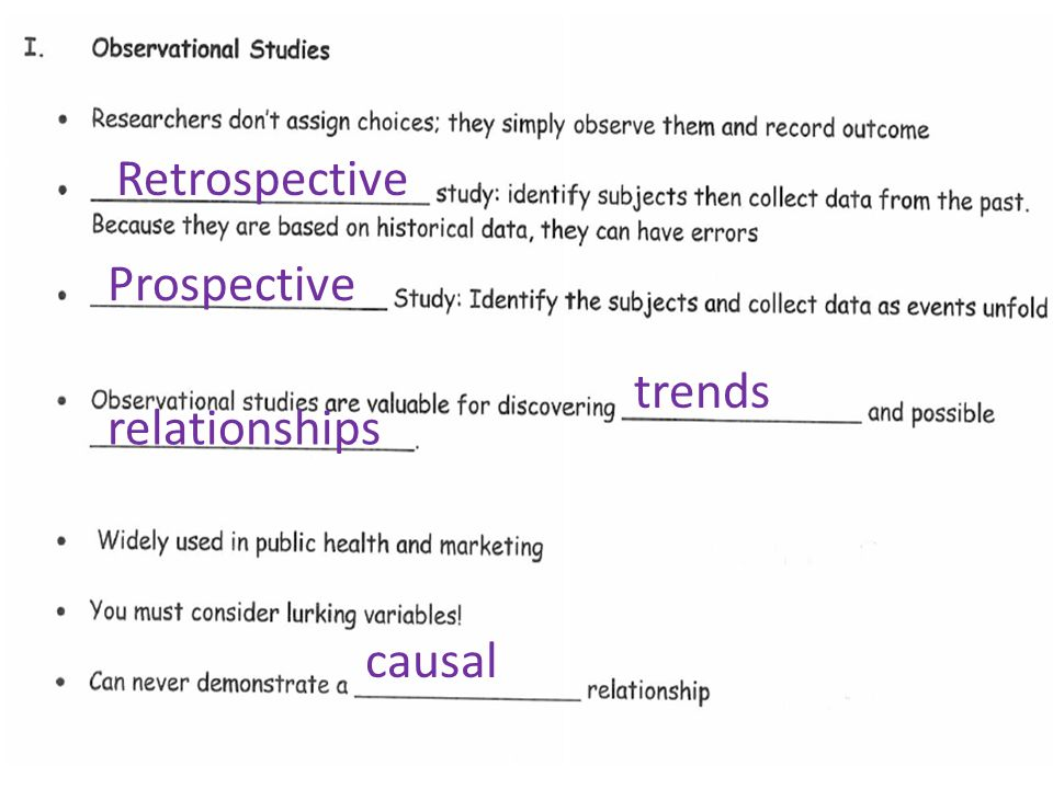 Retrospective Prospective trends relationships causal