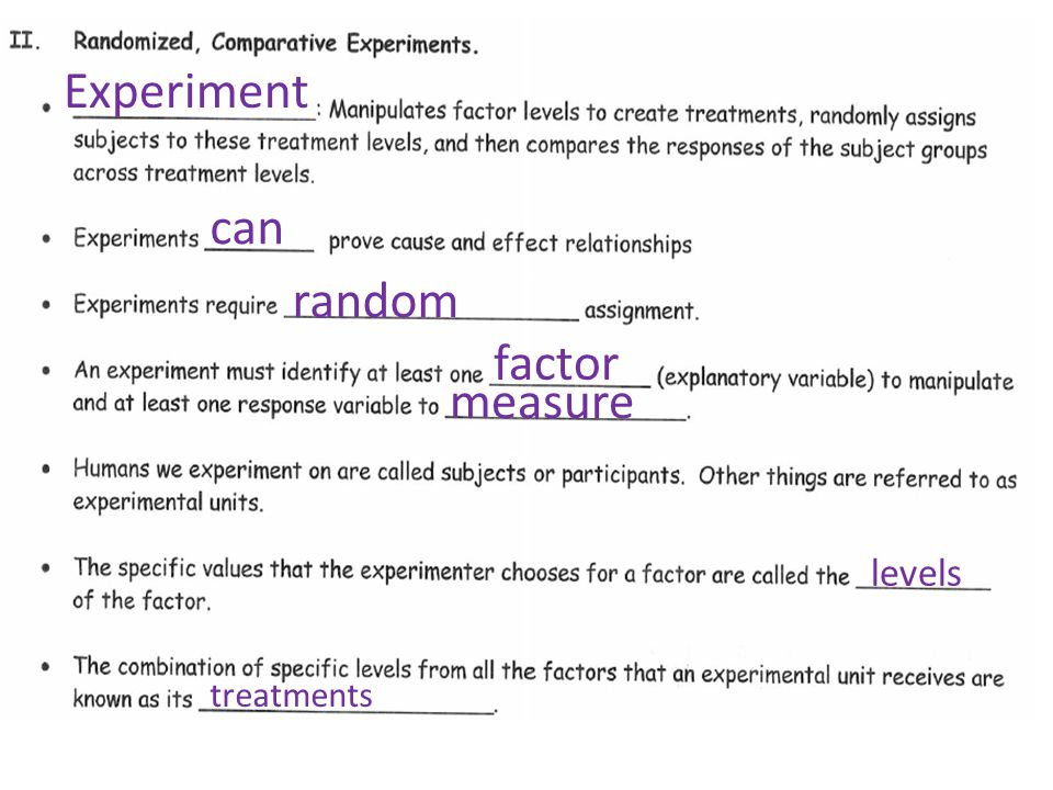 Experiment can random factor measure levels treatments