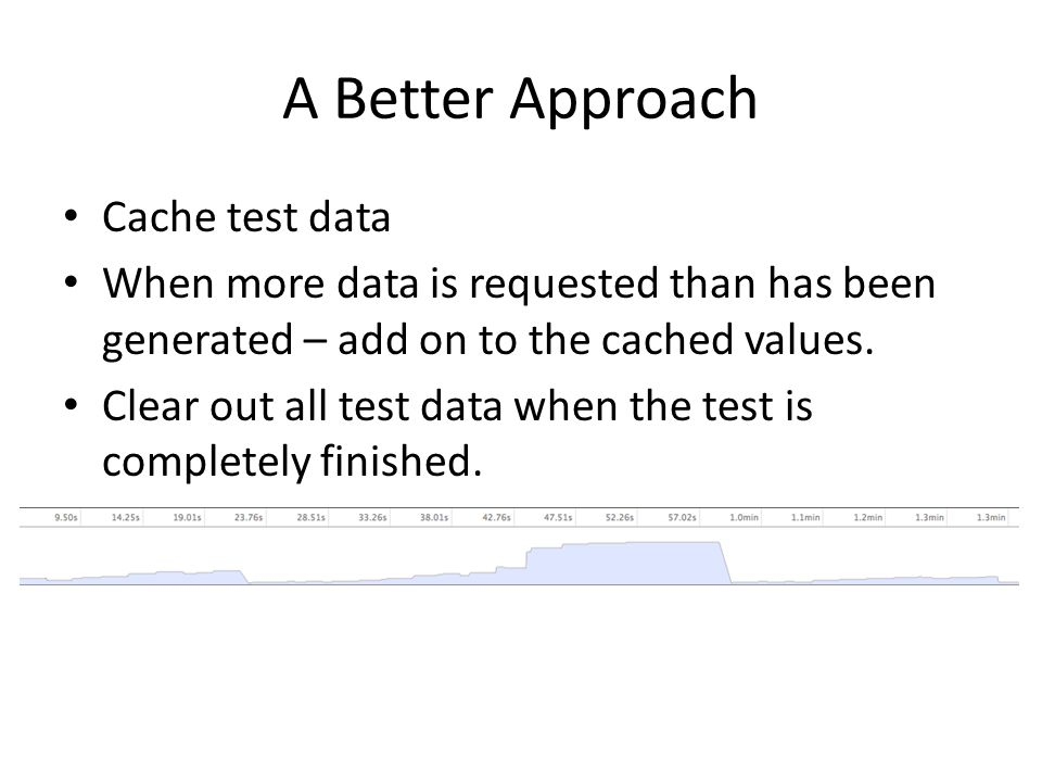 A Better Approach Cache test data When more data is requested than has been generated – add on to the cached values.