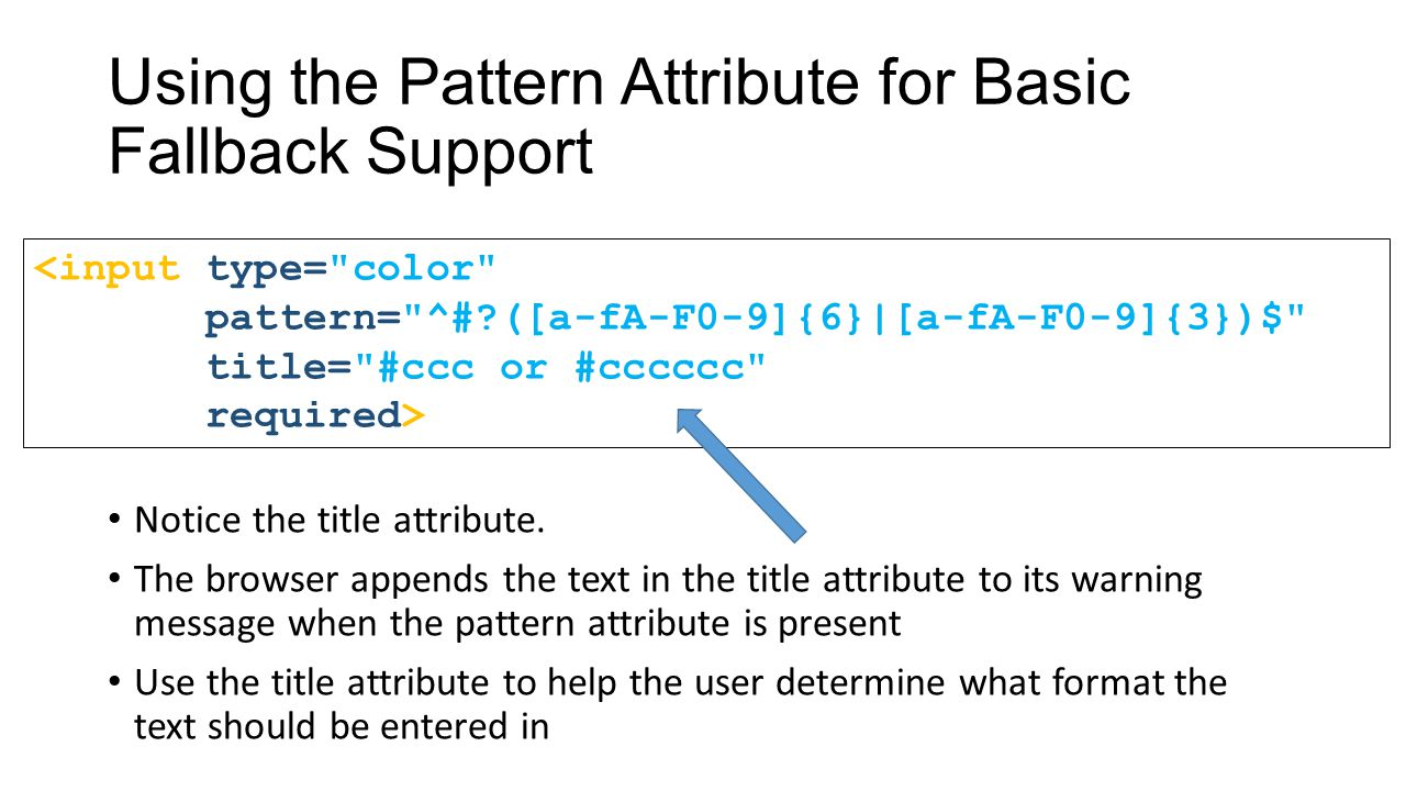 Using the Pattern Attribute for Basic Fallback Support Notice the title attribute.