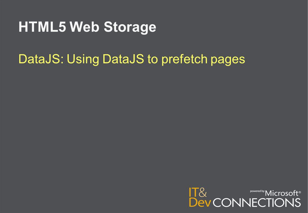 HTML5 Web Storage DataJS: Using DataJS to prefetch pages