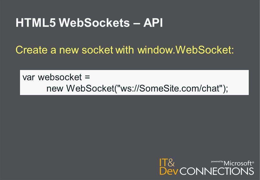 HTML5 WebSockets – API 1 Property ● readyState 4 Events: ● onopen ● onmessage ● onclose ● onerror 3 Methods: ● send(DOMString) ● send(ArrayBuffer) ● send(Blob)