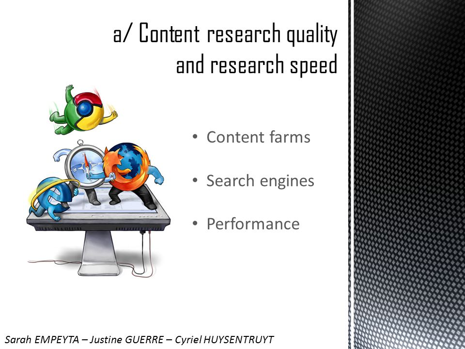 Content farms Search engines Performance