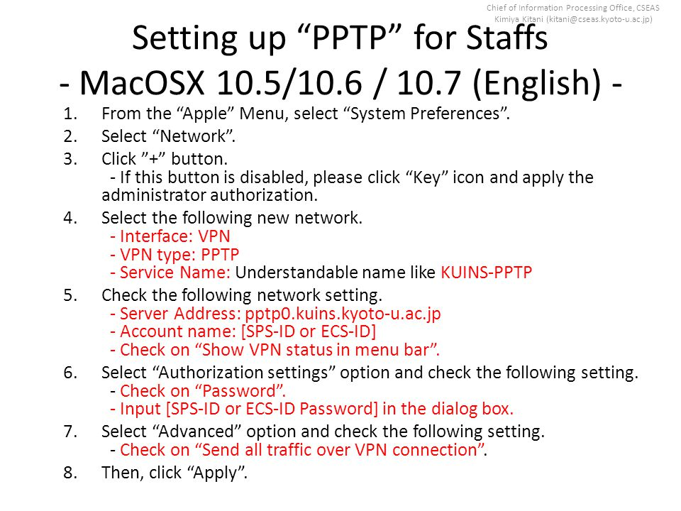 Chief of Information Processing Office, CSEAS Kimiya Kitani (kitani@cseas.kyoto-u.ac.jp) Manuals for setting up Web Proxy - Windows 7, Vista, XP -MacOSX 10.7 (Lion) / 10.6 (Snow Leopard) / 10.5 (Leopard)