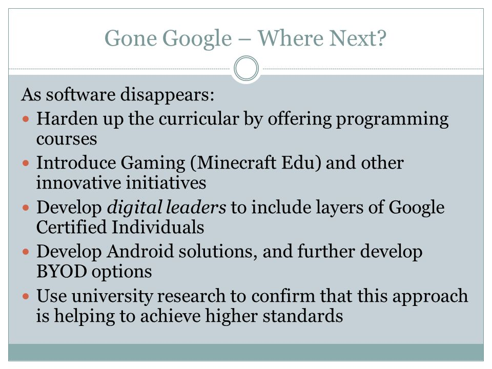 Gone Google – Where Next.