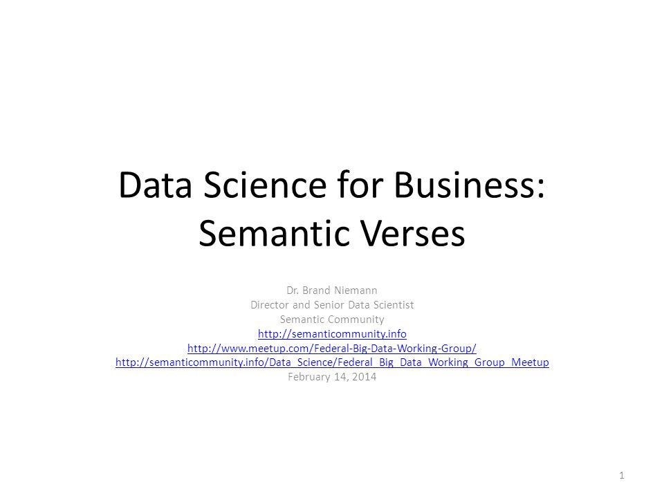 Data Science for Business: Semantic Verses Dr.