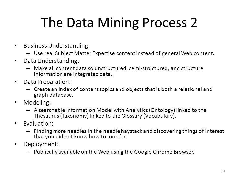 The Data Mining Process 2 Business Understanding: – Use real Subject Matter Expertise content instead of general Web content.