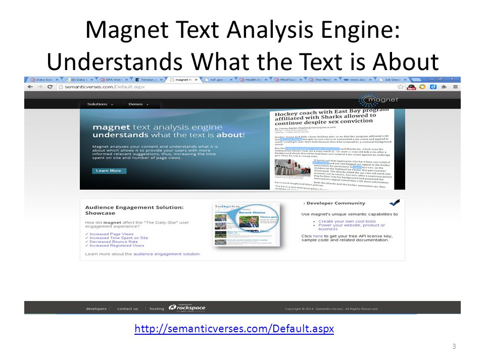 Magnet Text Analysis Engine: Understands What the Text is About http://semanticverses.com/Default.aspx 3