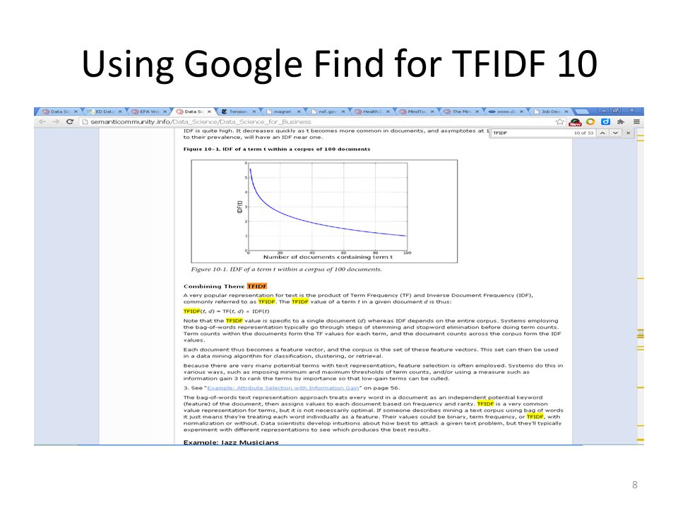 Using Google Find for TFIDF 10 8