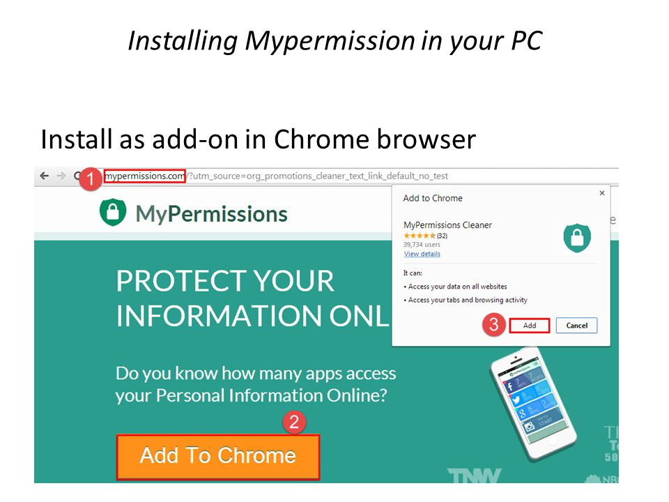 Installing Mypermission in your PC Install as add-on in Chrome browser
