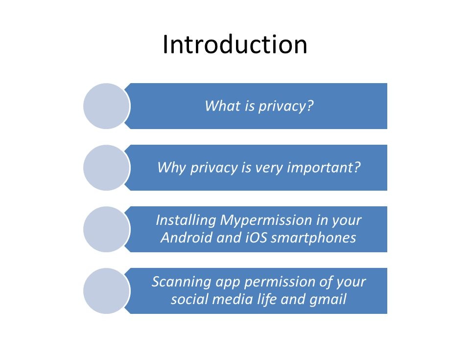 Introduction What is privacy? Why privacy is very important? Installing Mypermission in your Android and iOS smartphones Scanning app permission of yo