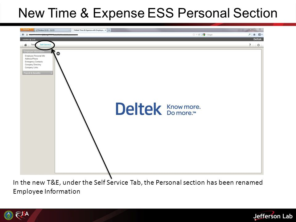 New Time & Expense ESS Personal Section In the new T&E, under the Self Service Tab, the Personal section has been renamed Employee Information