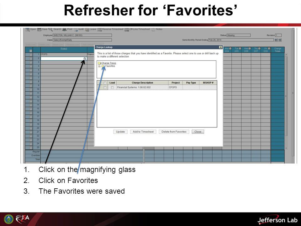 Refresher for 'Favorites' 1.Click on the magnifying glass 2.Click on Favorites 3.The Favorites were saved