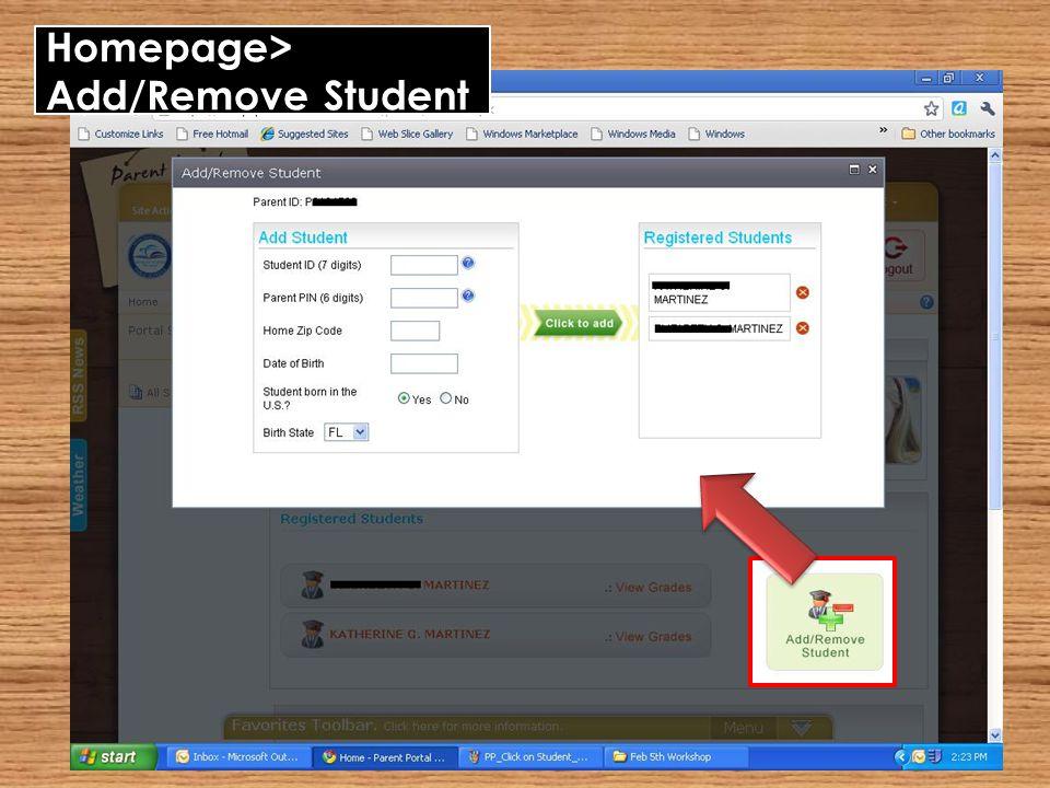 Homepage> Add/Remove Student