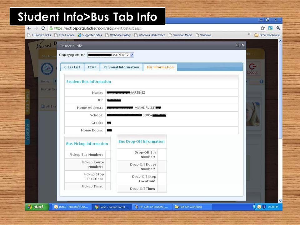 Student Info>Bus Tab Info