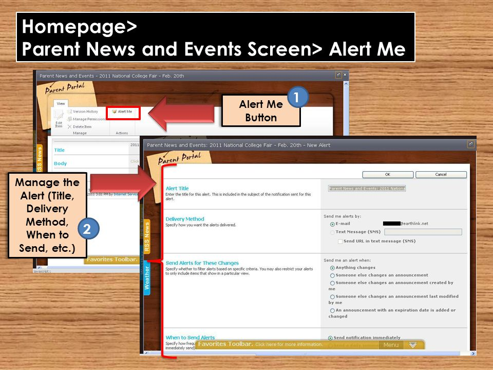 Homepage> Parent News and Events Screen> Alert Me Alert Me Button Manage the Alert (Title, Delivery Method, When to Send, etc.) 2 1