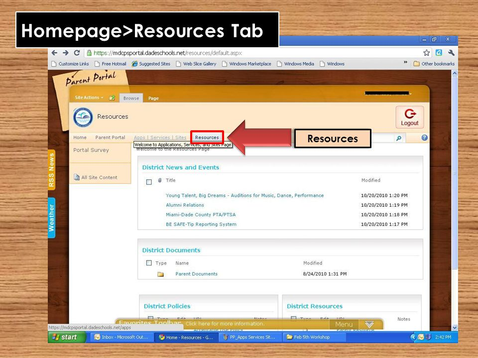 Homepage>Resources Tab Resources
