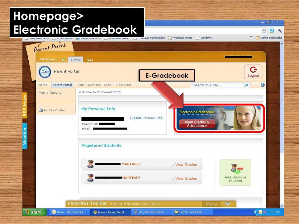 Homepage> Electronic Gradebook E-Gradebook