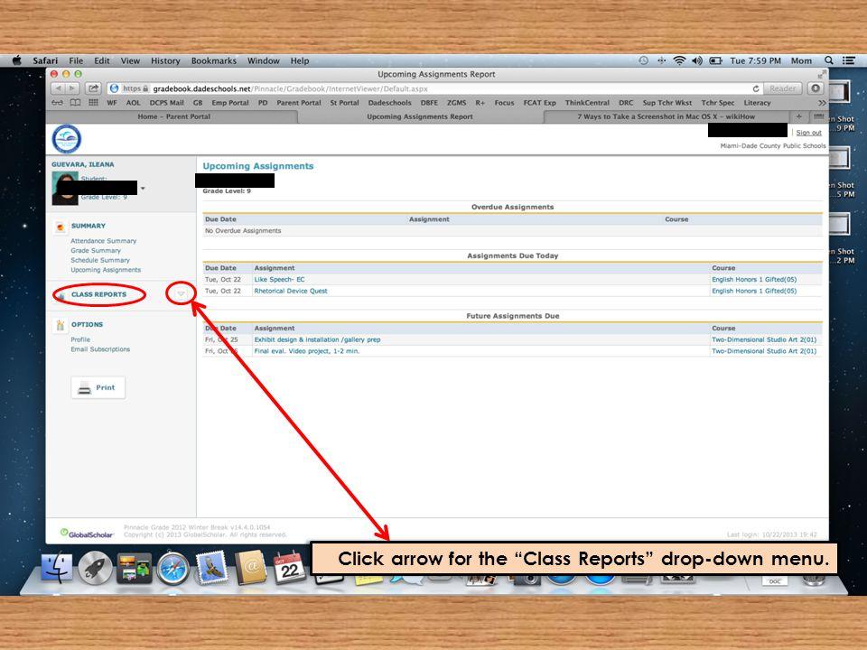 """Click arrow for the """"Class Reports"""" drop-down menu."""