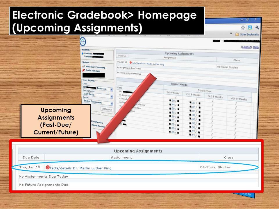 Electronic Gradebook> Homepage (Upcoming Assignments) Upcoming Assignments (Past-Due/ Current/Future) Upcoming Assignments (Past-Due/ Current/Future)
