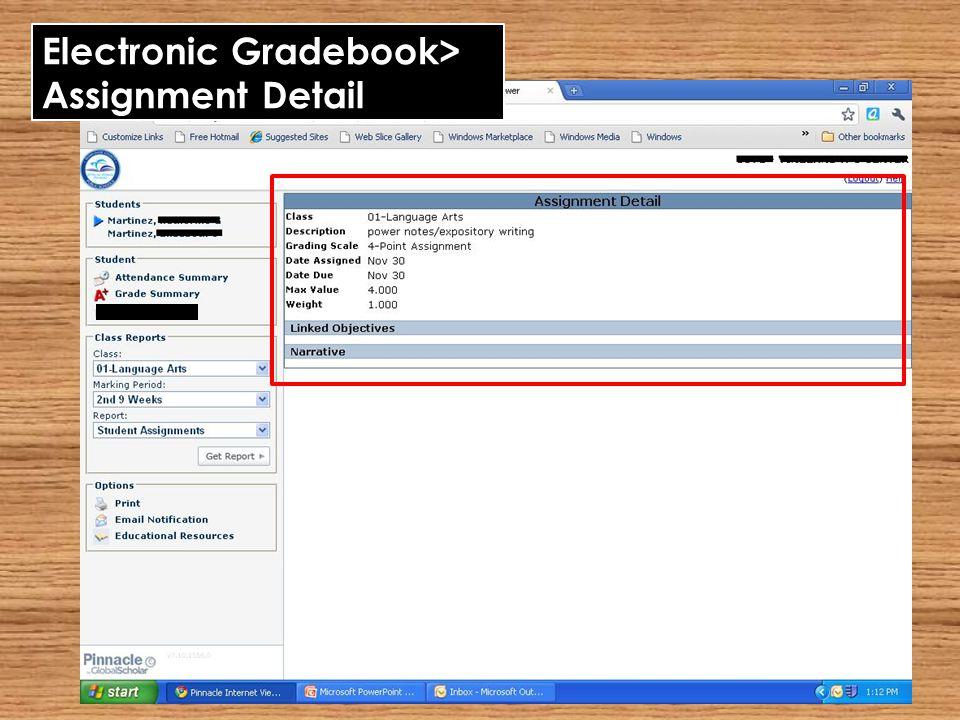 Electronic Gradebook> Assignment Detail