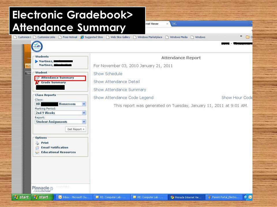 Electronic Gradebook> Attendance Summary