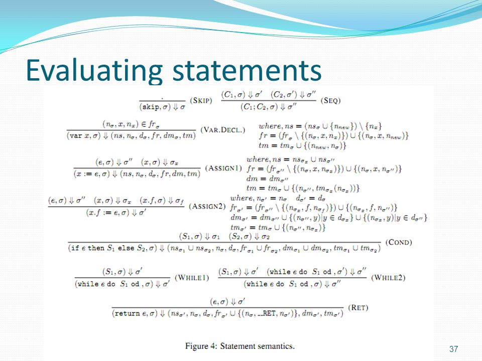 Evaluating statements 37