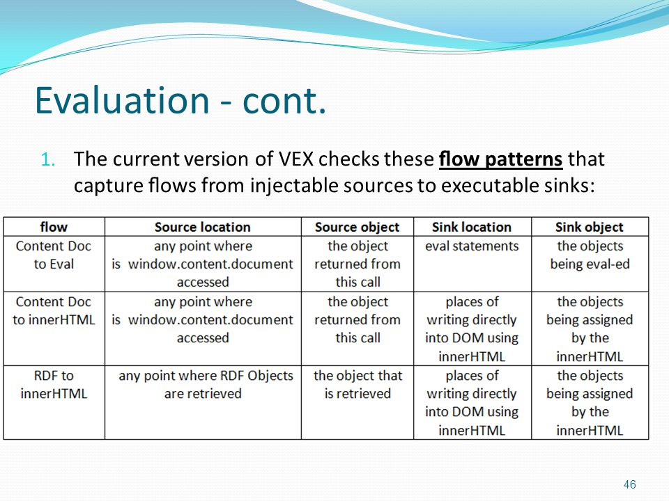 Evaluation - cont. 1. The current version of VEX checks these flow patterns that capture flows from injectable sources to executable sinks: 46