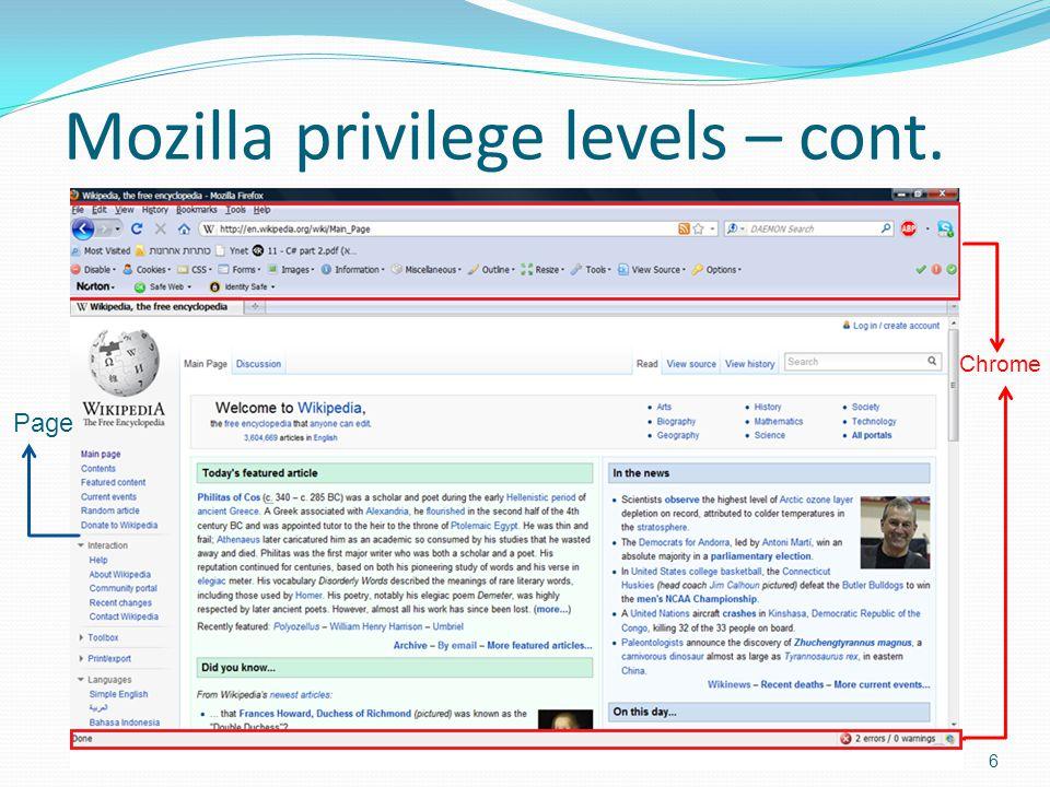 Mozilla privilege levels – cont. 6 Chrome Page
