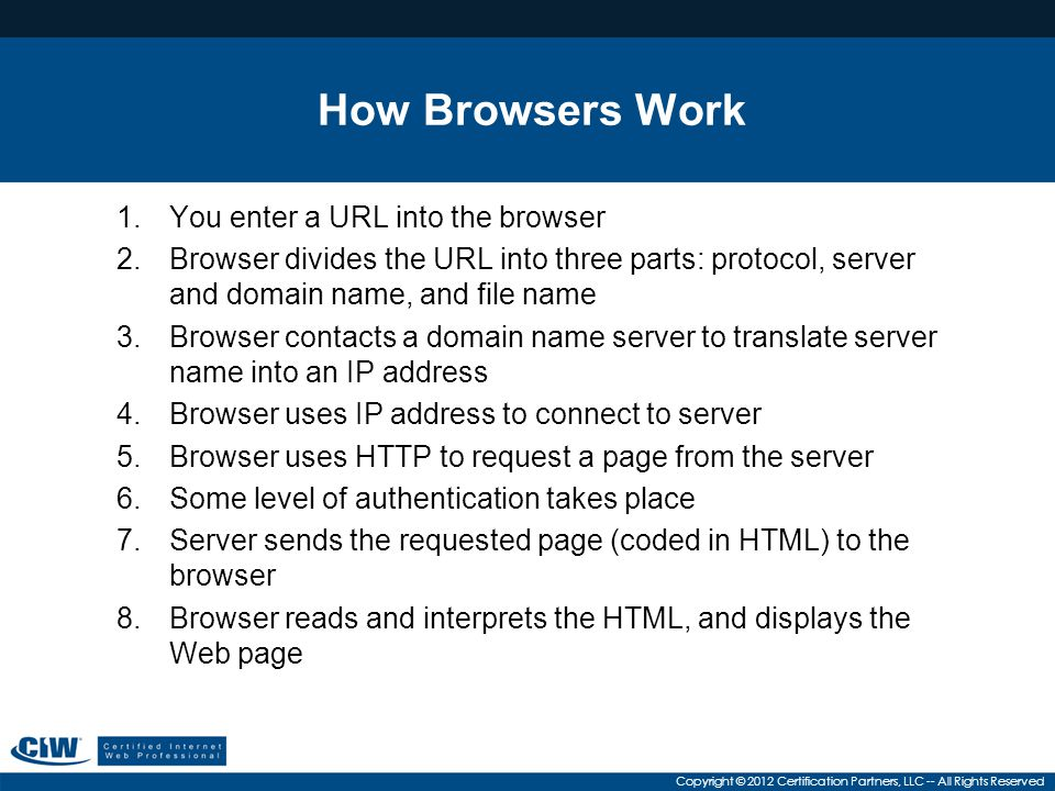 Copyright © 2012 Certification Partners, LLC -- All Rights Reserved Browser Choices Most popular browsers in use today are Windows Internet Explorer, Google Chrome and Mozilla Firefox Alternative browsers include: –Safari –RockMelt –Opera –Konqueror –Lynx