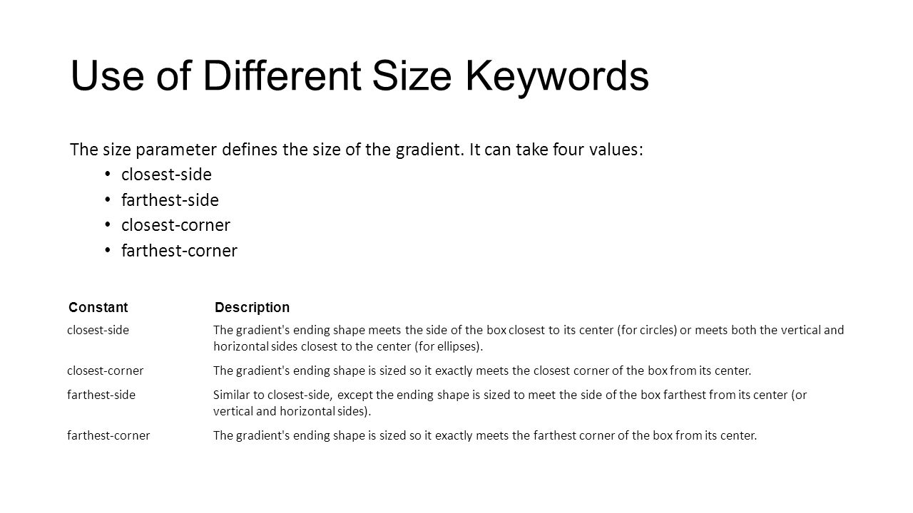 Use of Different Size Keywords The size parameter defines the size of the gradient. It can take four values: closest-side farthest-side closest-corner