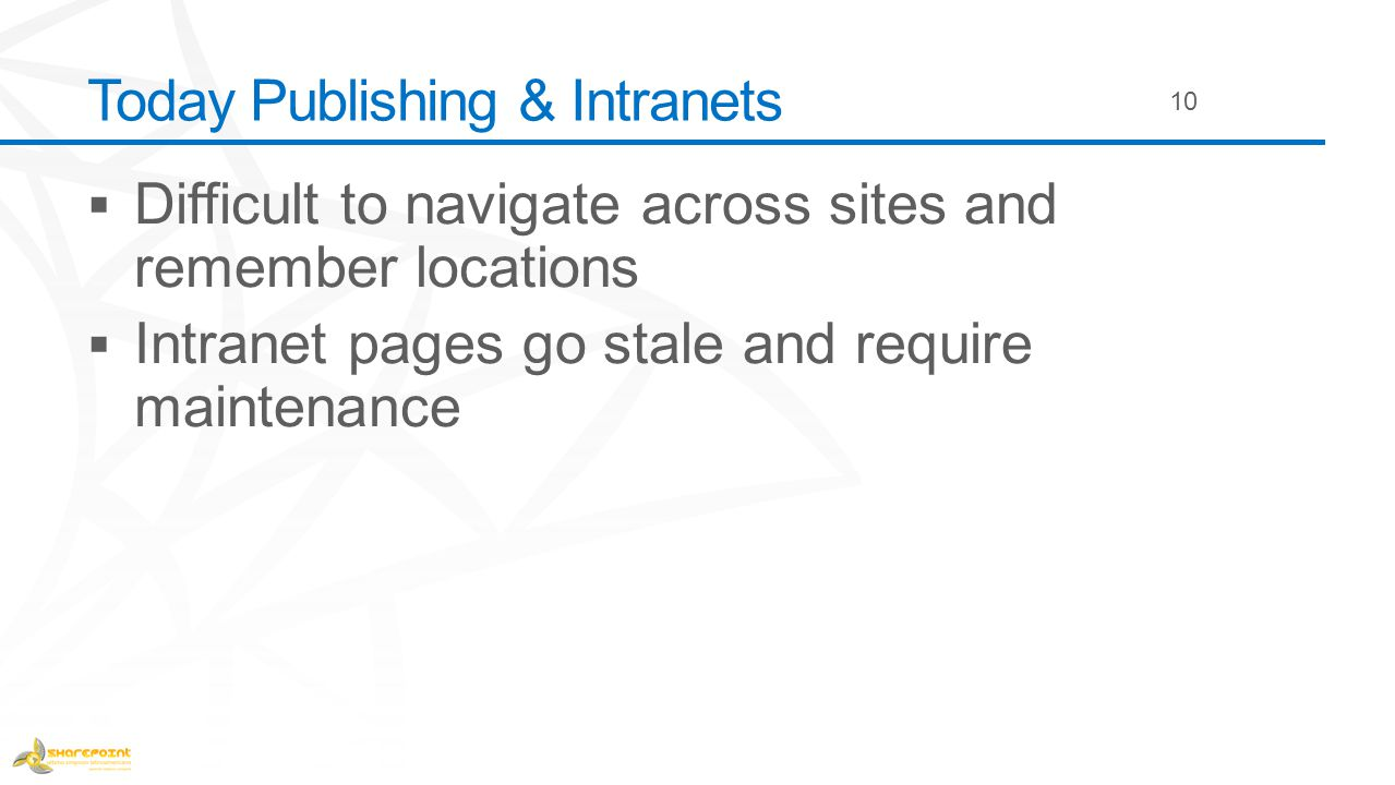 Today Publishing & Intranets 10