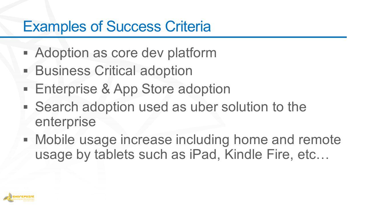 Examples of Success Criteria