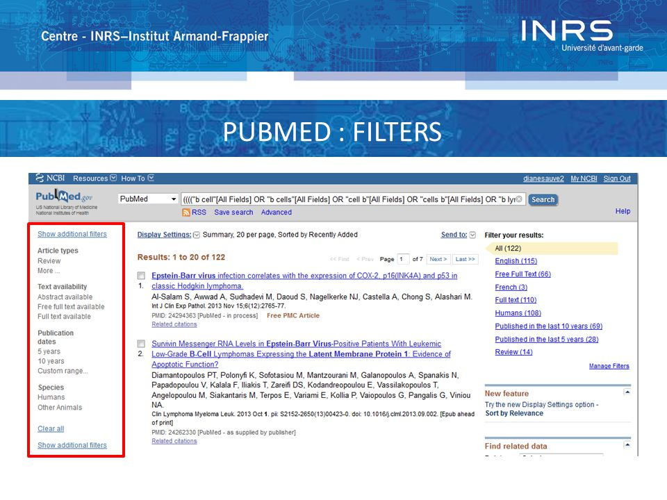 PUBMED : FILTERS