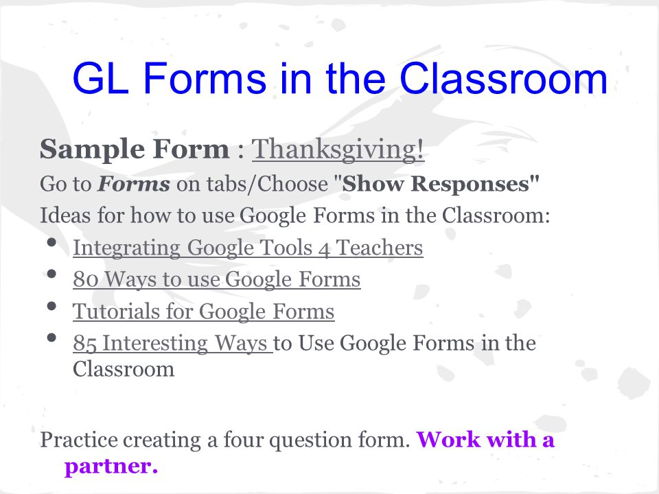GL Forms in the Classroom Sample Form : Thanksgiving!Thanksgiving.