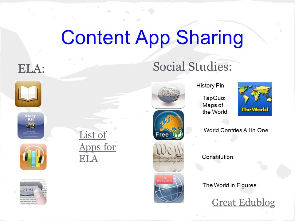 Content App Sharing ELA: Social Studies: Great Edublog List of Apps for ELA Constitution World Contries All in One The World in Figures TapQuiz Maps of the World History Pin