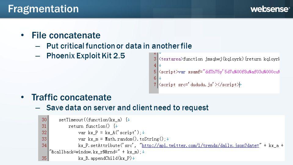 JDOE De-obfuscation Method Hook eval() – Get some inner status of JavaScript Print the final DOM tree – Get the final status – Document.write should add some nodes in DOM tree De-obfuscation Method