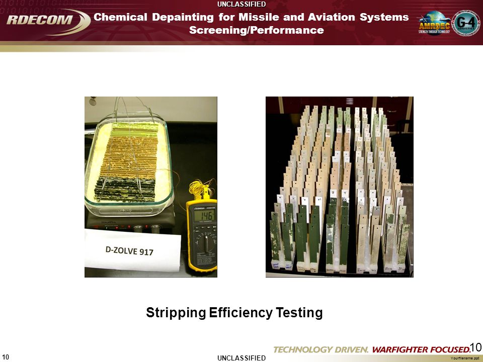 UNCLASSIFIED 10 Yourfilename.ppt 10 Chemical Depainting for Missile and Aviation Systems Screening/Performance Stripping Efficiency Testing