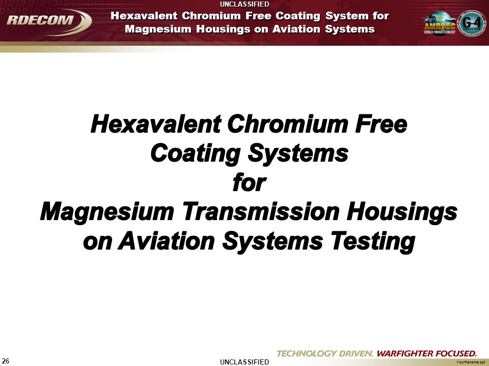 UNCLASSIFIED 26 Yourfilename.ppt Hexavalent Chromium Free Coating System for Magnesium Housings on Aviation Systems