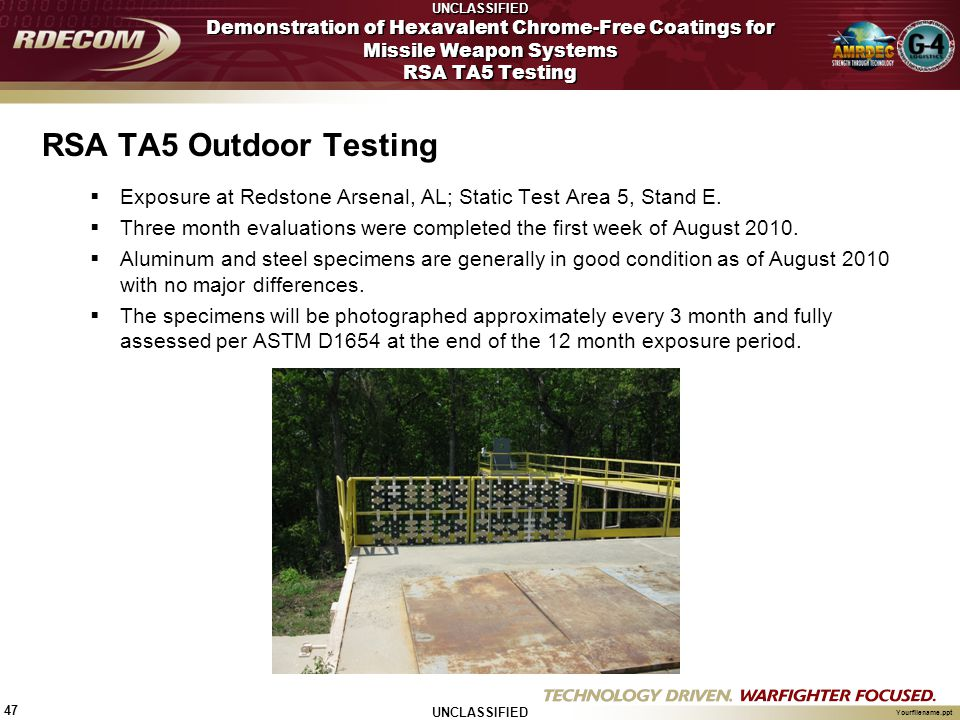 UNCLASSIFIED 47 Yourfilename.ppt RSA TA5 Outdoor Testing  Exposure at Redstone Arsenal, AL; Static Test Area 5, Stand E.  Three month evaluations we