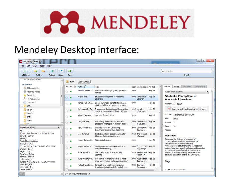 Mendeley Desktop interface: