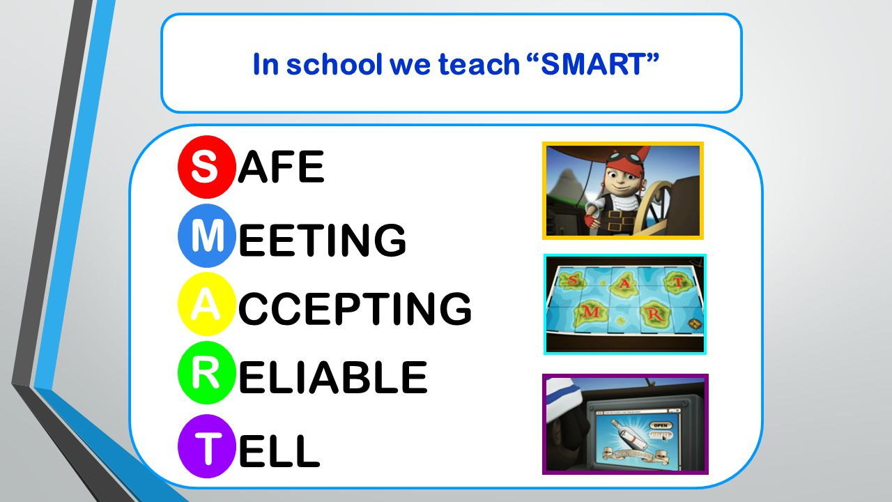 "In school we teach ""SMART"" S M R A T AFE EETING CCEPTING ELIABLE ELL"
