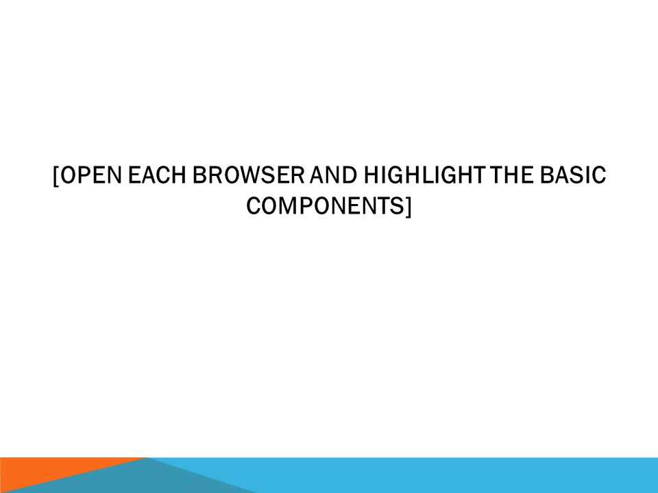 [OPEN EACH BROWSER AND HIGHLIGHT THE BASIC COMPONENTS] Internet basics