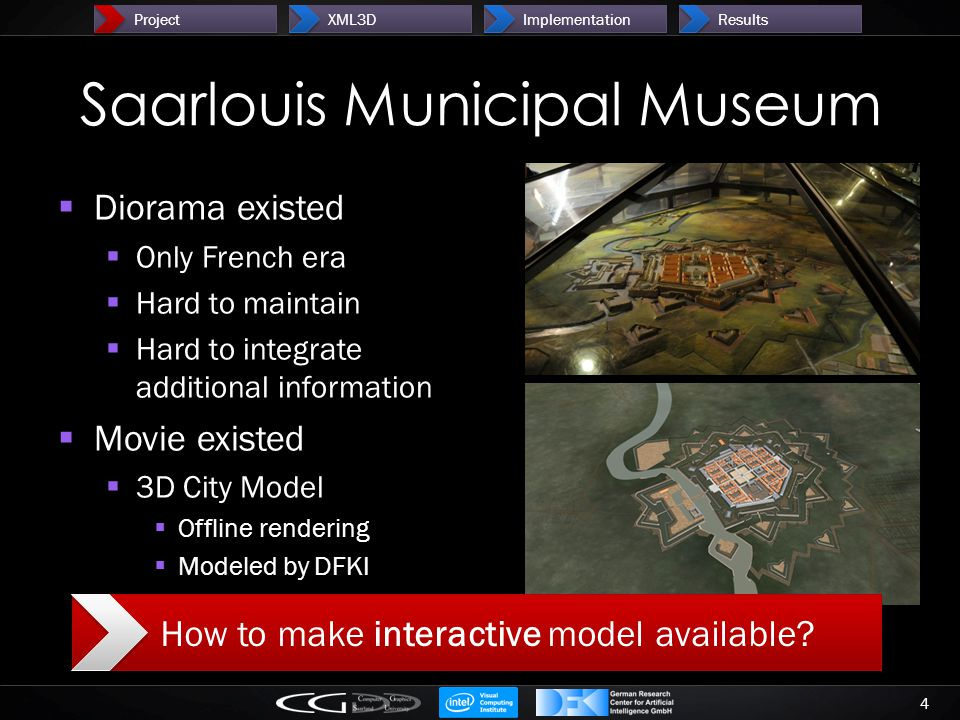 Saarlouis Municipal Museum  Diorama existed  Only French era  Hard to maintain  Hard to integrate additional information  Movie existed  3D City Model  Offline rendering  Modeled by DFKI 4 ProjectXML3DImplementationResults How to make interactive model available?
