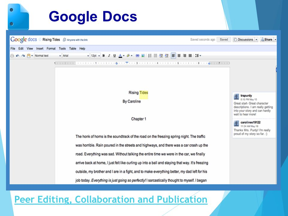 Google Docs Peer Editing, Collaboration and Publication
